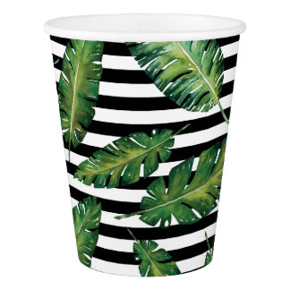 Black stripes banana leaf tropical summer pattern paper cup