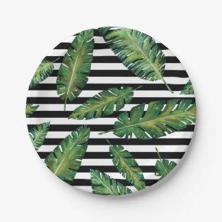Black stripes banana leaf tropical summer pattern paper plate