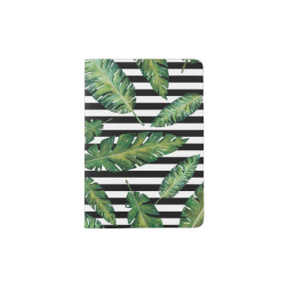 Black stripes banana leaf tropical summer pattern passport holder