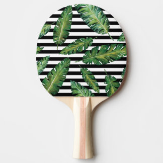 Black stripes banana leaf tropical summer pattern ping pong paddle