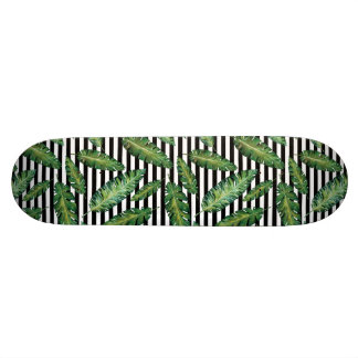 Black stripes banana leaf tropical summer pattern skateboard