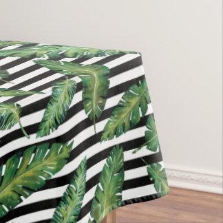 Black stripes banana leaf tropical summer pattern tablecloth