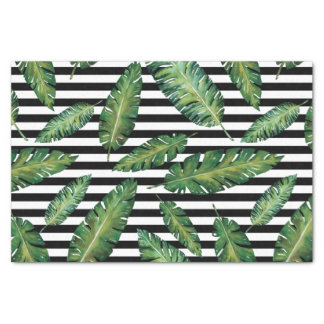 Black stripes banana leaf tropical summer pattern tissue paper
