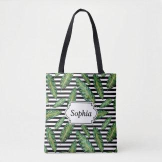 Black stripes banana leaf tropical summer pattern tote bag