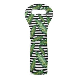 Black stripes banana leaf tropical summer pattern wine bag