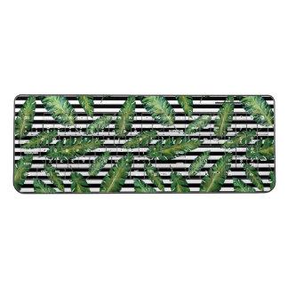 Black stripes banana leaf tropical summer pattern wireless keyboard