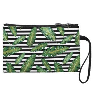Black stripes banana leaf tropical summer pattern wristlet