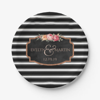 Black Stripes Chalkboard Floral Wedding Paper Plate