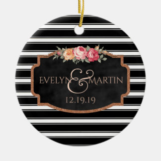 Black Stripes Chalkboard Monogram Wedding Date Ceramic Ornament