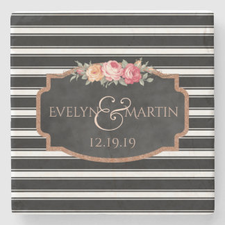 Black Stripes Chalkboard Monogrammed Wedding Date Stone Beverage Coaster