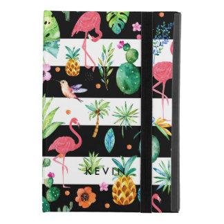 Black Stripes & Colorful Flowers & Pink Flamingos iPad Mini 4 Case