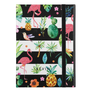 "Black Stripes & Colorful Flowers & Pink Flamingos iPad Pro 9.7"" Case"