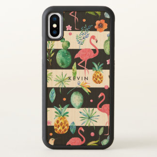 Black Stripes & Colorful Tropical Pattern 2 iPhone X Case