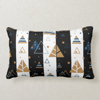 Black Stripes & Colourful Triangles Pattern Lumbar Pillow