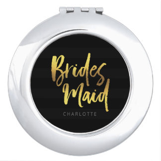 Black Stripes Elegant Brush Script Bridesmaid Compact Mirrors