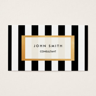 Black Stripes & Faux Gold Two-Sided Business Card