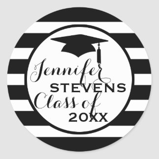 Black Stripes Geometric Pattern-Graduations Classic Round Sticker
