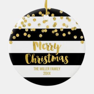 Black Stripes Gold Confetti Christmas Photo Ceramic Ornament