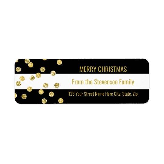 Black Stripes Gold Confetti Merry Christmas