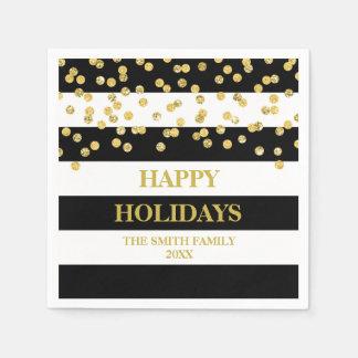 Black Stripes Gold Confetti Moder Christmas Napkin Disposable Napkin
