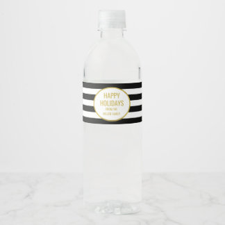 Black Stripes Gold Custom Happy Holidays Water Bottle Label