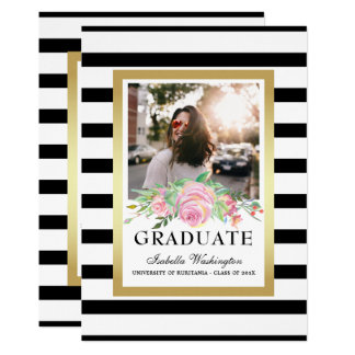 Black Stripes Gold Floral Graduation Party Photo Card