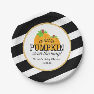Black Stripes Gold Little Pumpkin Fall Baby Shower Paper Plate