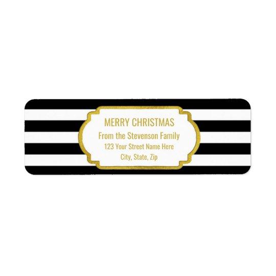 Black Stripes Gold Merry Christmas