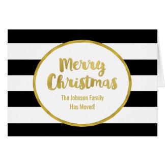Black Stripes Gold Merry Christmas New Address Card