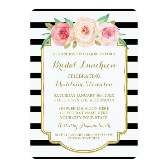 Black Stripes Gold Pink Floral Bridal Lunch Card