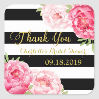 Black Stripes Gold Pink Floral Bridal Shower Square Sticker