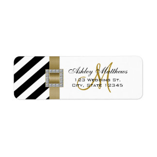 Black Stripes, Gold Ribbon Monogram for Weddings