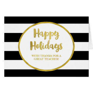 Black Stripes Gold Teacher Christmas Card