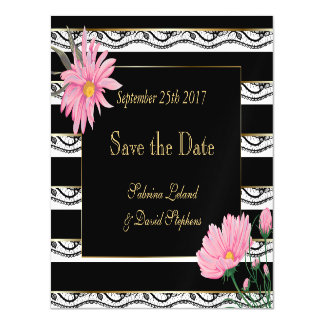 Black Stripes Lace and Pink Daisies Save the Date Magnetic Card