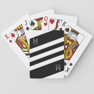 black stripes monogrammed on white playing cards
