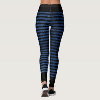 Black stripes on blue denim background leggings