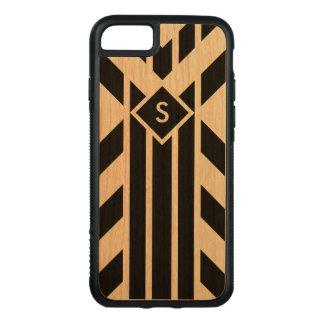 Black Stripes & Parallelograms on Wood, Monogram Carved iPhone 8/7 Case