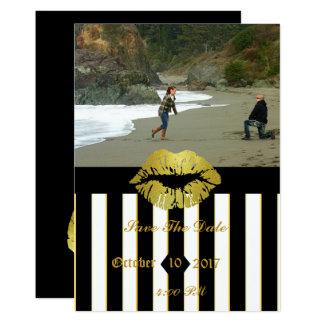 Black Stripes Picture Save the Date Invitation