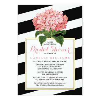 Black Stripes & Pink Hydrangea Bridal Shower Card