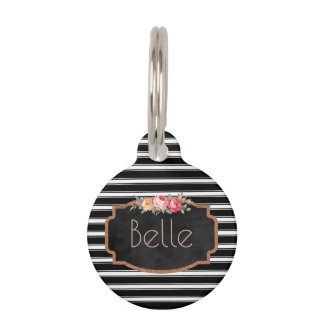 Black Stripes Pink Roses Personalized Pet ID Phone Pet Tag