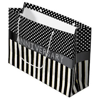 Black Stripes/Polka Dots Diamond Anniversary LG Large Gift Bag