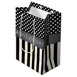 Black Stripes/Polka Dots Diamond Anniversary Medium Gift Bag