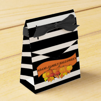 Black Stripes & Pumpkins Halloween -Thanksgiving Favor Box