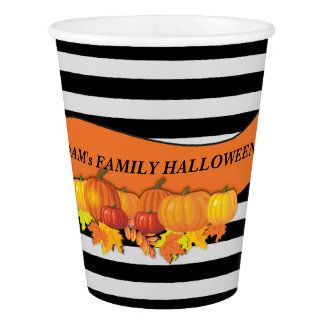 Black Stripes & Pumpkins Halloween -Thanksgiving Paper Cup