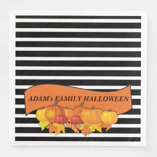 Black Stripes & Pumpkins Halloween -Thanksgiving Paper Napkins