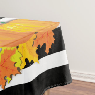 Black Stripes & Pumpkins Halloween -Thanksgiving Tablecloth