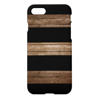 Black Stripes Rustic Wood iPhone 7 Case
