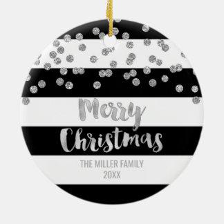 Black Stripes Silver Confetti Christmas Photo Ceramic Ornament
