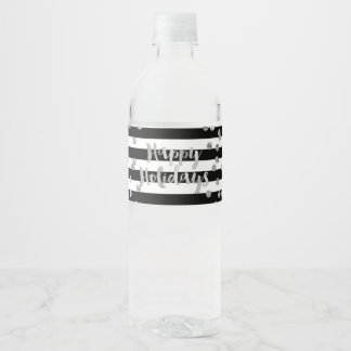 Black Stripes Silver Confetti Happy Holidays Water Bottle Label