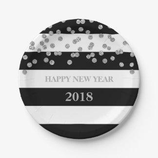 Black Stripes Silver Confetti Happy New Year Plate